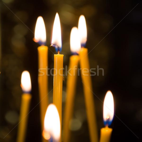 Luce candele chiesa buio candela nero Foto d'archivio © vapi