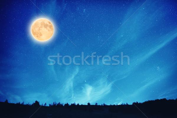 Full moon at night on the dark blue sky Stock photo © vapi