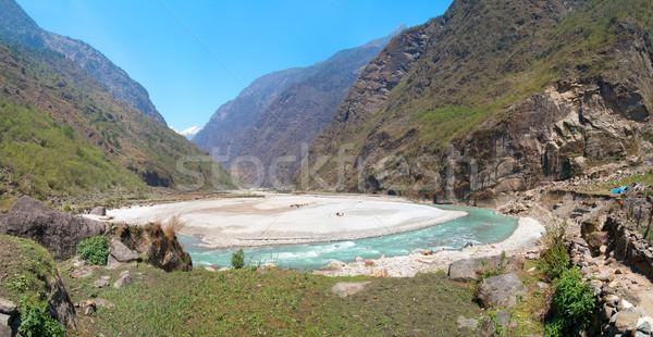 Panorama of Marsyangdi river, Tibet, Nepal. Stock photo © vapi