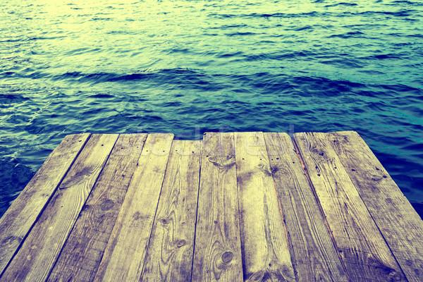 Mavi su boş ahşap doğal Stok fotoğraf © vapi