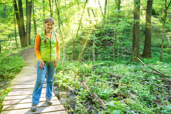 Woman on bridge in the forest Stock photo © vapi