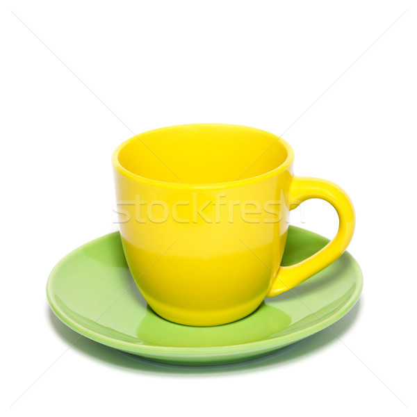 Renkli çay fincanı fincan tabağı yalıtılmış beyaz yeşil Stok fotoğraf © vapi