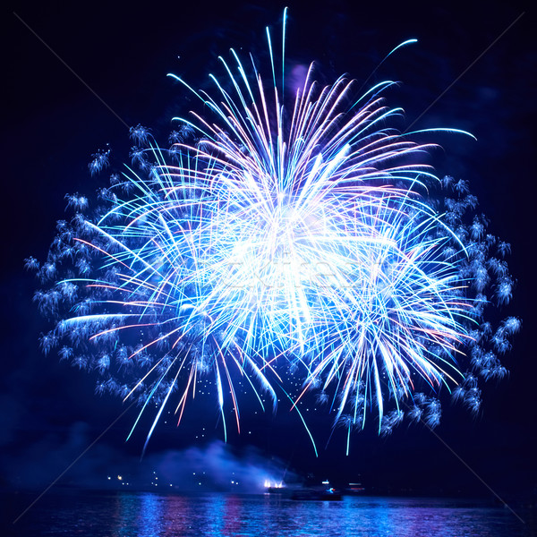 Kék tűzijáték színes fekete égbolt boldog Stock fotó © vapi