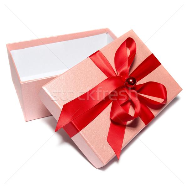 Open geschenkdoos geïsoleerd witte papier partij Stockfoto © vapi