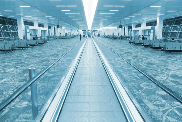 Aeroporto sala interni scala mobile blu business Foto d'archivio © vapi