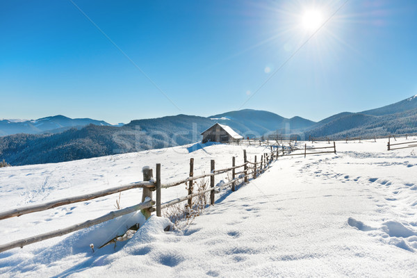 Stock photo: Winter landscape with a old rural house