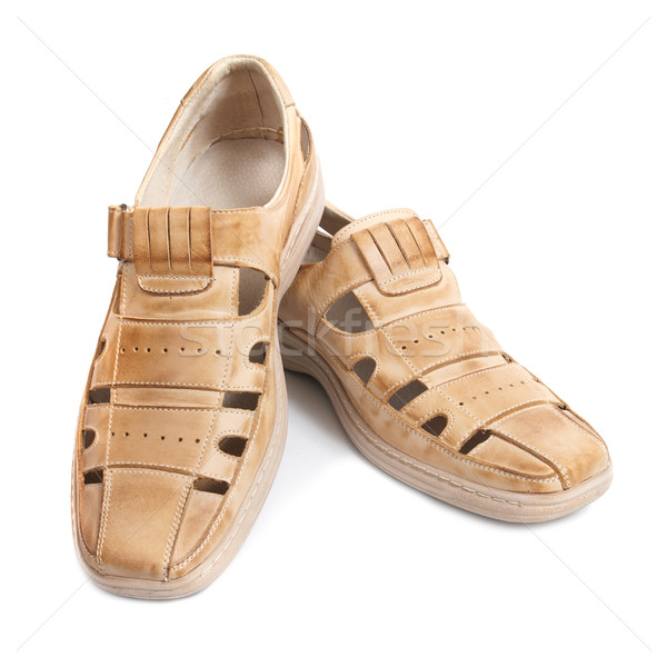 Paar sandalen bruin schoenen geïsoleerd witte Stockfoto © vapi