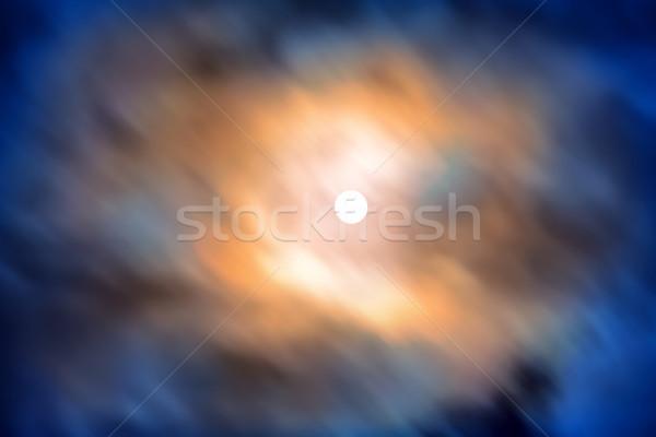 Notte view luna piena movimento blu nubi Foto d'archivio © vapi
