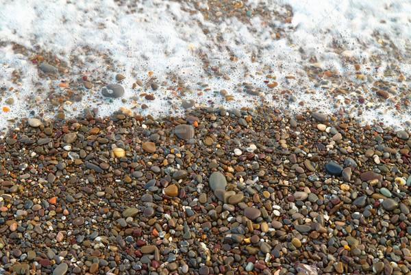 Golf schuim stenen strand zon Stockfoto © vapi