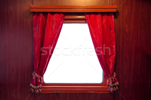 Red curtains on the window Stock photo © vapi