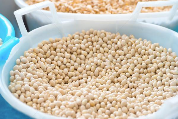 Bowl with white haricot beans Stock photo © vapi