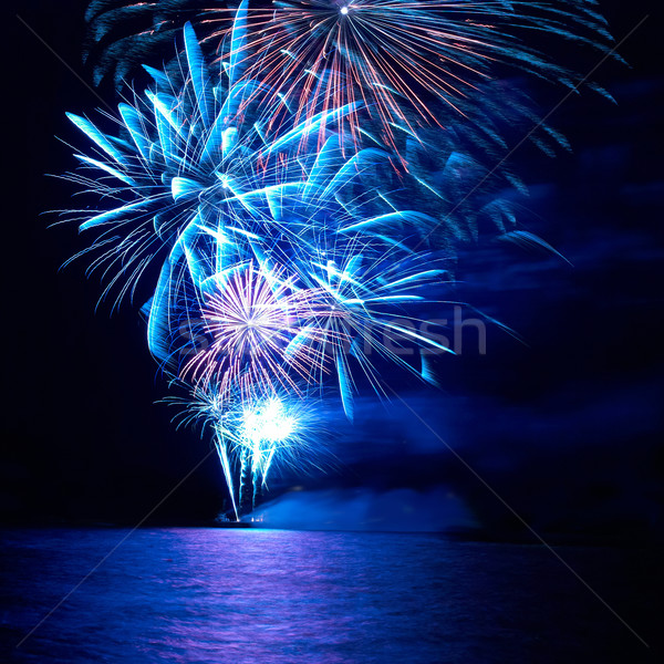 Stock fotó: Színes · ünnep · tűzijáték · kék · piros · fekete