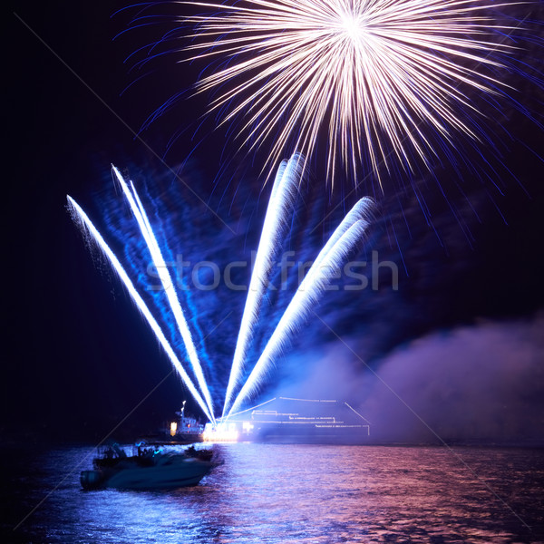 Stock photo: Blue colorful fireworks