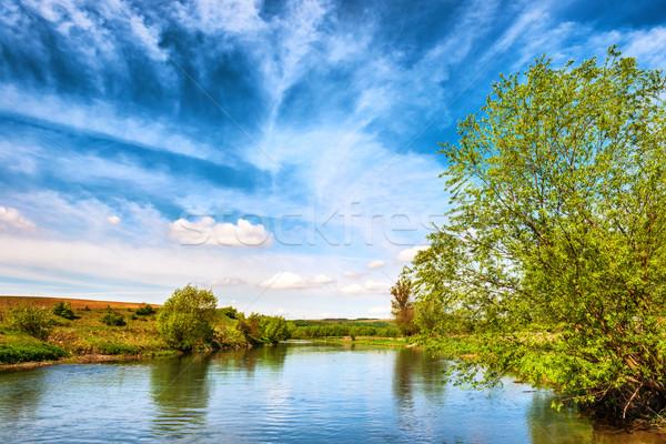 Stock fotó: Kilátás · folyó · bankok · zöld · fák · kék