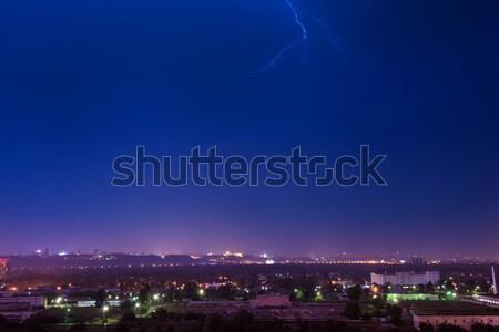 嵐 雷 市 暗い 1泊 劇的な ストックフォト © vapi