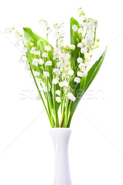 Stockfoto: Lelies · vallei · witte · bloemen · vaas · geïsoleerd · witte