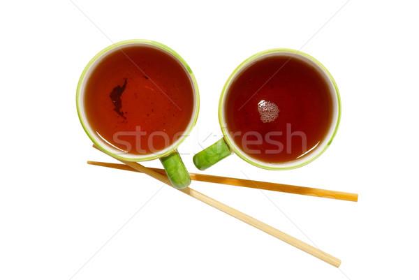 Iki çay Çin yemek çubukları yalıtılmış beyaz sağlık Stok fotoğraf © vapi