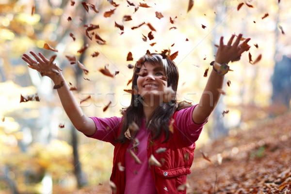 Zdjęcia stock: Piękna · dziewczyna · objętych · pozostawia · jesienią · parku · dziewczyna