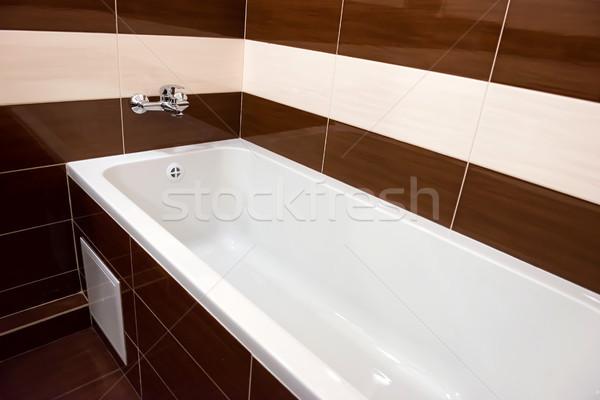 Fehér luxus fürdőkád fürdőszoba kerámia belső Stock fotó © vapi