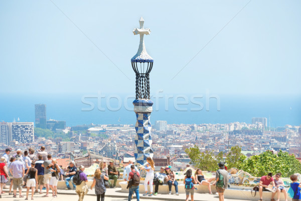 Park Guell with crowd of people Stock photo © vapi