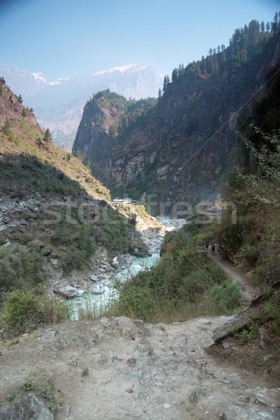 Marsyangdi river and Annapurna mountain Stock photo © vapi