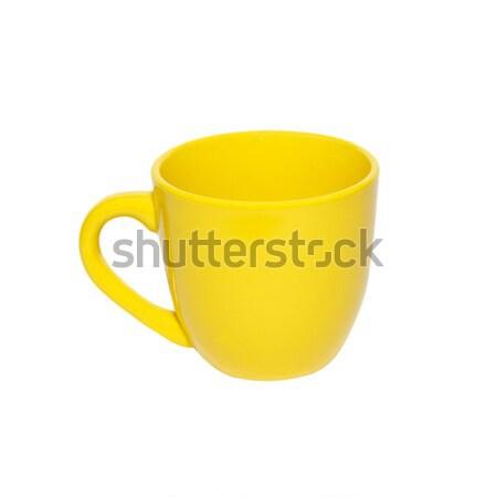 желтый чайная чашка изолированный белый кофе фон Сток-фото © vapi