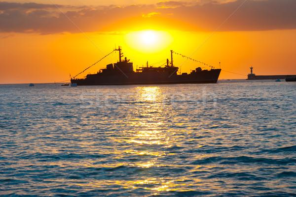 Silhouette of big cargo ship in the port Stock photo © vapi