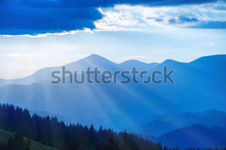 Blue mountains at sunset Stock photo © vapi