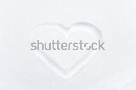формы сердца рисунок белый снега любви Валентин Сток-фото © vapi