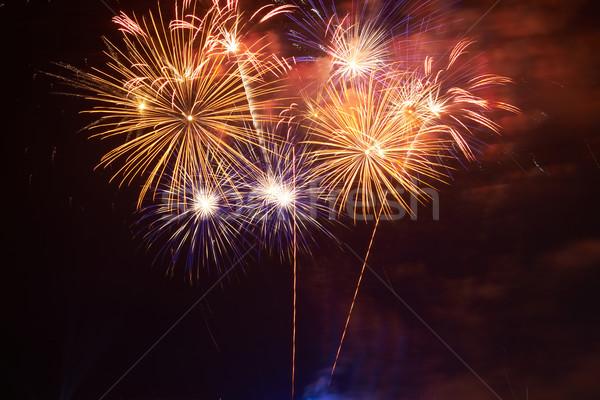 Stock fotó: Színes · tűzijáték · piros · fekete · égbolt · boldog