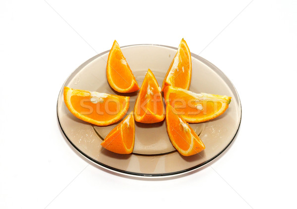 Orange segments on the plate isolated on white. Stock photo © vapi