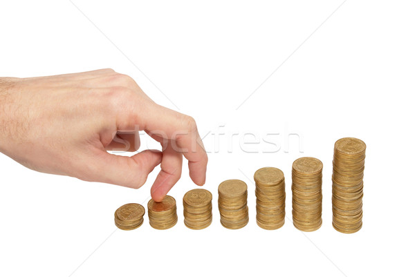 Climbing hand on gold coin staircase Stock photo © vapi