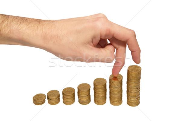 Escalada mão moeda de ouro escada isolado branco Foto stock © vapi