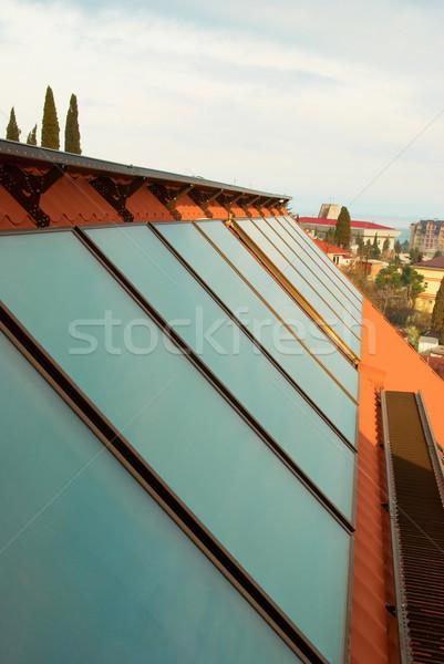 Stock fotó: Nap · víz · fűtés · piros · ház · tető