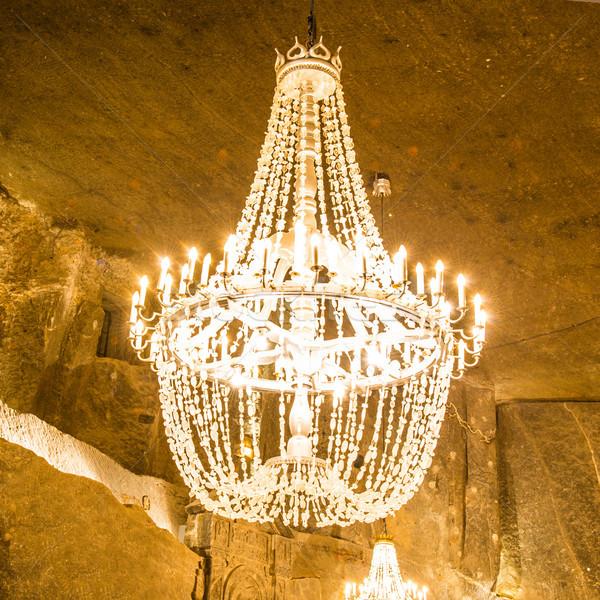 кристалл роскошь люстра подвесной фон свечу Сток-фото © vapi