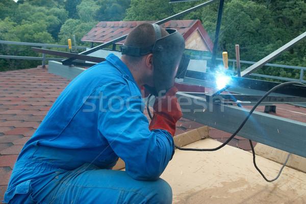 Lasser werken metaal bouw fabriek brand Stockfoto © vapi