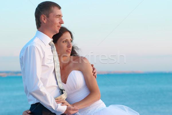 Gyönyörű esküvő pár menyasszony vőlegény ölel Stock fotó © vapi