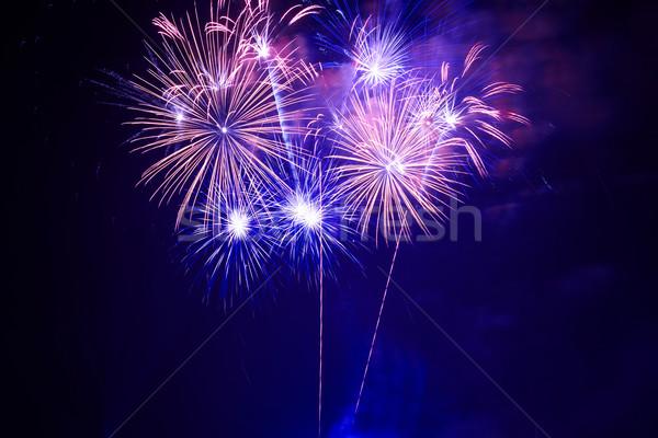 Azul colorido fogos de artifício preto céu feliz Foto stock © vapi