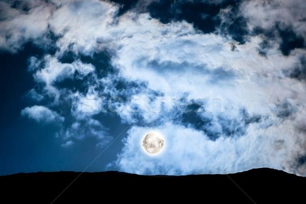 Photo stock: Pleine · lune · au-dessus · montagne · sombre · bleu · ciel · de · la · nuit