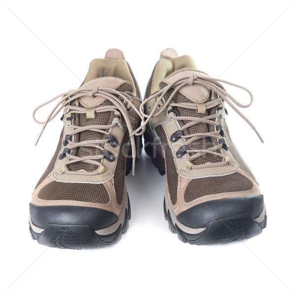 Par marrón entrenadores blanco aislado moda Foto stock © vapi