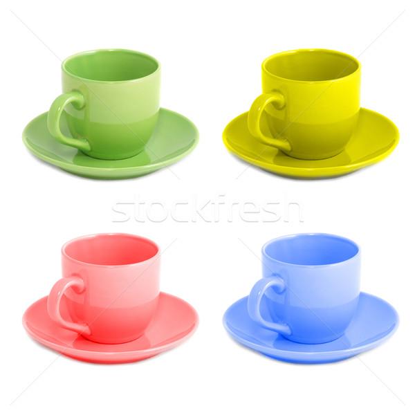 Vier kleur geïsoleerd witte glas achtergrond Stockfoto © vapi