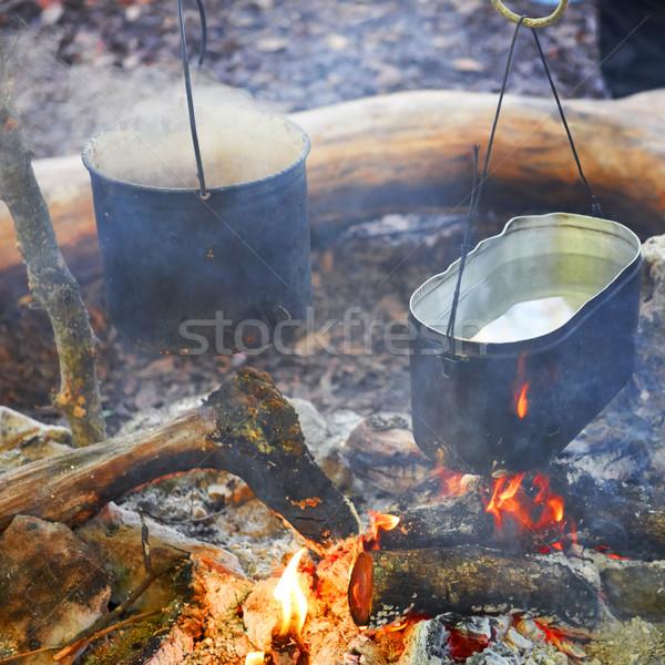 Two pots above the fire. Stock photo © vapi