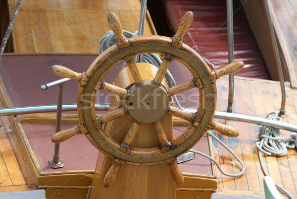 Old boat steering wheel Stock photo © vapi