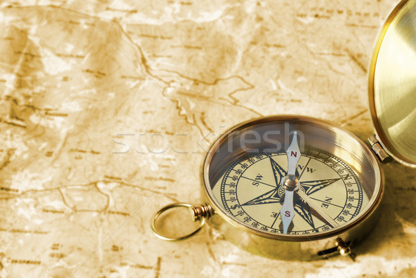 Compass on old map Stock photo © vapi