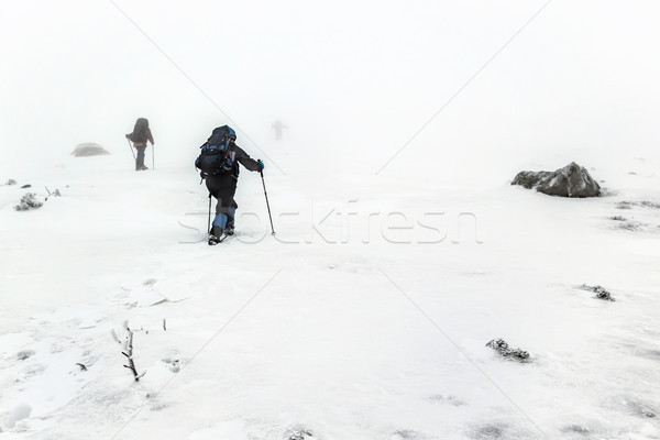 Berg wandelen groep sneeuwstorm trekking klimmen Stockfoto © vapi