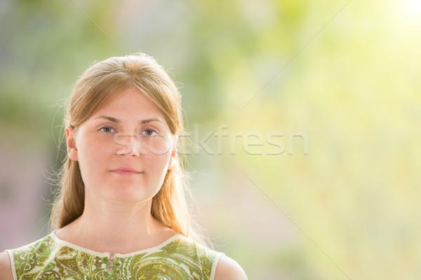 Csinos nő pózol ablak csinos fiatal nő piros Stock fotó © vapi