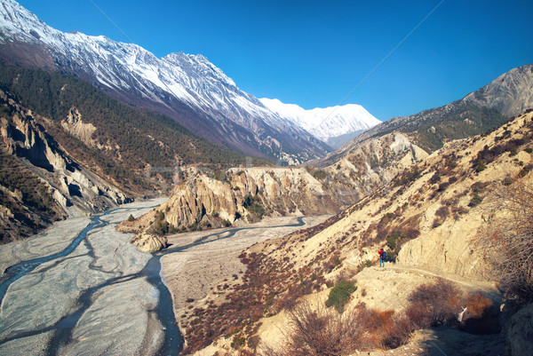 Himalayas mountains and Marsyangdi river Stock photo © vapi
