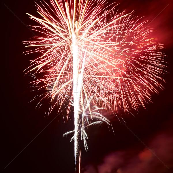 Színes tűzijáték piros fekete égbolt boldog Stock fotó © vapi