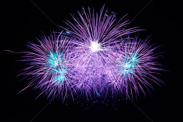 Azul fuegos artificiales colorido negro cielo feliz Foto stock © vapi