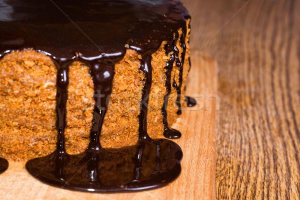 Csokoládé születésnapi torta fa asztal étel fa torta Stock fotó © vapi